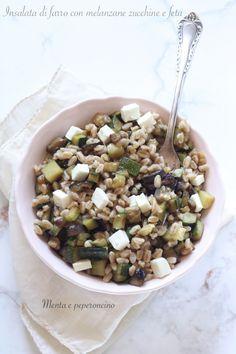 Insalata di farro con melanzane zucchine e feta #ricetta #piattoestivo #insalata #farro #melanzane #zucchine #feta