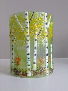 E. Badiuk Fused Glass - Summer Aspen Sconce 1