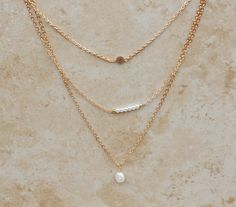 Necklaces, Gold Layering, Pearls, Delicate Layer Necklace Set, Jewelry Gift, InaraJewels