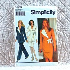 8733 SIMPLICITY Uncut PATTERN 1993 Women Front Pleat Wide Leg Pants Slim Skirt Fitted Lined Jacket Front Side Closure Size 6 8 10 4-oz