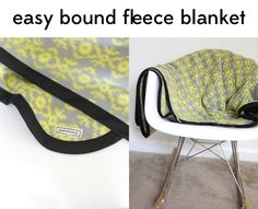 easy fleece + bias tape blanket tutorial (with rounded corners!) - see kate sew. I love the idea of binding a fleece blanket rather than cutting/tying. Sewing Tutorials, Sewing Hacks, Sewing Crafts, Sewing Projects, Sewing Patterns, Skirt Patterns, Dress Tutorials, Blouse Patterns, Sewing For Kids
