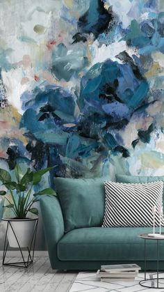 See the versatility of this stunning blue floral mural by designer Carol Robinson. Place in your living room with a sage green sofa. Add a black and white striped cushion for pattern and house plants for a homely feel. Alternatively, choose minimal white furniture for a fresh and bright feel, whilst placing full focus on the feature wall. Get the look and shop the collection at Wallsauce.com! #floralwallpaper #sagegreen #whitehome Creative Wall Painting, Creative Art, Diy Room Decor, Living Room Decor, Green Sofa, Blue Wallpapers, Wall Wallpaper, House Plants, Wall Murals