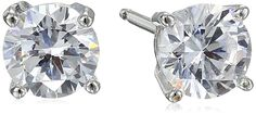 Sterling Silver Round Cut Cubic Zirconia Stud Earrings -- You can get additional details at the image link.