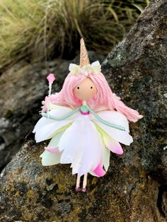 Excited to share the latest addition to my #etsy shop: Unicorn Flower Fairy Doll, Pink Hair Unicorn Doll, Wire Bendy Fairy Doll, Unicorn Gift Ideas, Nature Lover Gift, Rainbow Unicorn