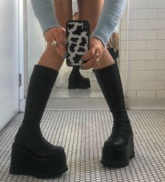 2a0f3e4efbba  shoes  black  90s  boots  vintage  blue  bathroom  cow