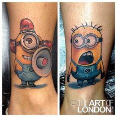 Funky minions of Despicable Me by London Reese. Bff Tattoos, Funny Tattoos, Cartoon Tattoos, Friend Tattoos, Disney Tattoos, Couple Tattoos, Love Tattoos, Tattoo You, Beautiful Tattoos