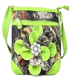 NEW GREEN CAMO CAMOUFLAGE RHINESTONE FLOWER MESSENGER BAG CROSSBODY PURSE