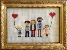DIY- Family In Stitches- Love the baby in the baby carrier on the daddy!!!