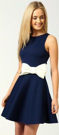Royal navy skater mini dress with bow detail