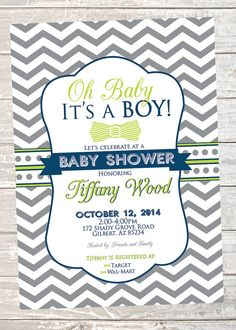 Baby Boy Shower Invitation  Printable  Blue Green by InvitesbyC. $5 for digital download