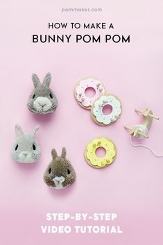 Cute Easter DIY Trends of How to make a Bunny Pom PomHow to make a Bunny Pom Pom Easter Crafts For Kids, Crafts For Teens, Projects For Kids, Crafts To Sell, Diy For Kids, Diy And Crafts, Craft Projects, Craft Kids, Homemade Crafts