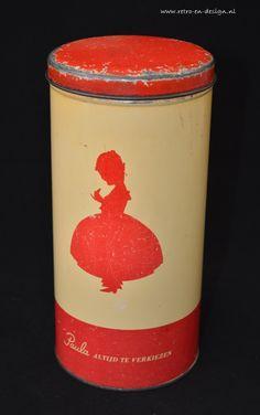 "Paula Dutch Rusk tin  Sixty years old tin. ""Paula"" by Paul C. Kaiser bakery with red silhouette girl in wide crinoline, Paula logo and inscription ""Paula always preferable""  Dimensions: height 23 cm. Diameter 11 cm. see: http://www.retro-en-design.co.uk/a-40965971/tins/paula-dutch-rusk-tin/"