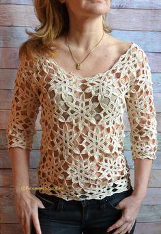 Natural flower motif 3/4 sleeve tunic. FilamentoKatBeach. Cotton 560m/100g x 3-4.5. 2mm hook. Etsy paid download. Saved to Evernote/ iBooks. Blouse Au Crochet, Crochet Lace, Tops Boho, Lace Tops, Boho Bluse, Mode Crochet, Style Feminin, Cotton Lace, Crochet Clothes