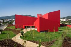 exterior JM CasaArtes Modern Architecture With Vivid Red Coating: Casa das Artes in Portugal