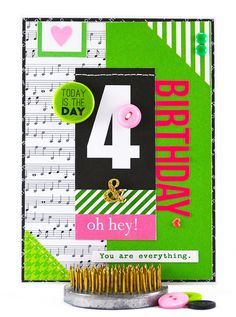 This sweet 4th birthday card is meant to celebrate a sweet 4 year old girl.  Stylish and traditional pink and green preppy colors, mixed with classic black and white, make this a fun card for a young lady who is turning 4. #thecardkiosk
