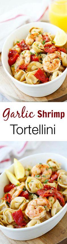 Garlic Shrimp Tortellini – AMAZING tortellini with garlic shrimp. Super easy recipe, takes 20 minutes, so delicious and better than restaurant's | rasamalaysia.com