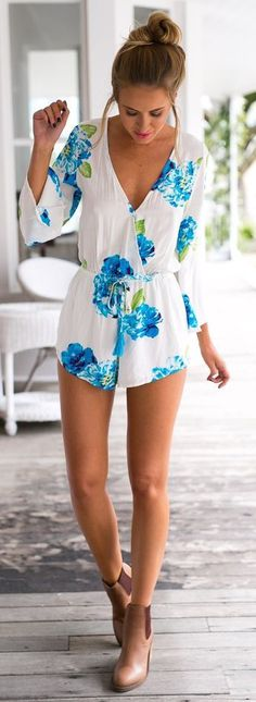 #summer #fashion / white floral print playsuit