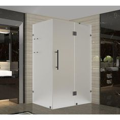 Aston Avalux GS 34 in. x 30 in. x 72 in. Frameless Shower Enclosure with Frosted Glass and Shelves in Oil Rubbed Bronze