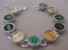 TYPEWRITER KEY BRACELET * RARE AQUA Q * Colorful typewriter key jewelry #Handmade