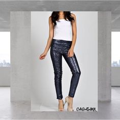 "Brooklyn Black Sequin Leggings Get your holiday look with these black sequin leggings. Fits a 6-8. Inseam 33"".  Fully lined. Also have them in gold. Smoke free home ❌No trades, holds, or PayPal I'm Now On Instagram! @caligirlinmnposh May & July Pants Leggings"
