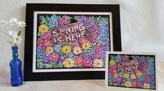 Spring is Here  Original Chalk Art Drawing  Print  Keepsake