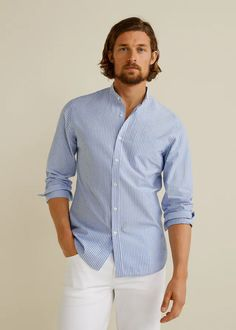 Smart collection Slim fit Cotton fabric Stripped fabric Mao neckline Patch pocket on the chest Long sleeve Rounded cuff with two button fastening Button up Grandad Collar Shirt, Banded Collar Shirts, Mango, Fabric Strips, Cotton Fabric, Shirt Dress, Long Sleeve, Mens Tops, Outfits