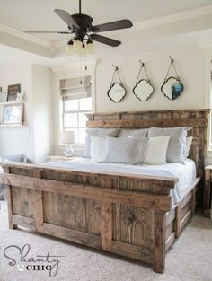 DIY King Size Bed Free Plans love bed and decorations. Instead of mirrors have pictures in frames: