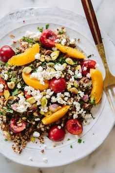 Quinoa, Mint and Stone Fruit Salad via A House in the Hills