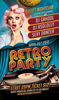 Retro Party Nightclub Flyer Template Download .PSD Editable File Here : http://graphicriver.net/item/retro-party-flyer/2136371?ref=kwangsoo