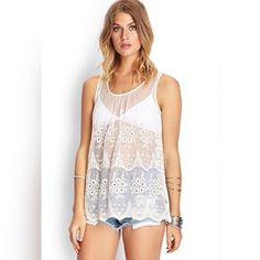 """Crocheted Mesh Tank Top An ethereal touch, this mesh tank top features an embroidered pattern and scalloped hemline. Unlined lightweight knit 57% cotton, nylon 28' full length, 42""""chest, 44""""waist measured from small. Forever 21 Tops Tank Tops"""