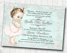 Square baby shower invitation printed on ecru shimmer stock baby shabby chic baby shower invitation for girl pale pink coral and seafoam green aqua filmwisefo