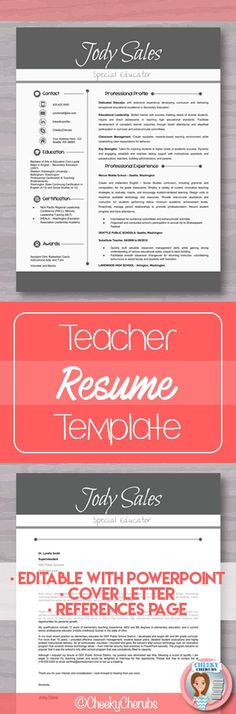 Teaching Resume Templates 45 Best Teacher Resume Template Images On Pinterest In 2018 .