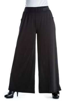"""Show off your fun and flirty style with these stylish women's palazzo pants. The vibrant prints and wide-leg style are sure to keep you looking chic and the soft, silky feel will keep you comfortable. Two front pockets, lightweight, wrinkle resistant with 2"""" wide black elastic waistband. Machine wash. 30"""" inseam, but if they are too long, they can be cut to the perfect length with a sharp pair of scissors without fraying. No need to hem! One Size Fits Most (2-16). Palazzo Pants by the…"""
