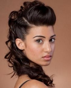 long updo curly brunette hair