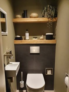 Toilet Room Decor, Small Toilet Room, Guest Toilet, Downstairs Toilet, Small Bathroom, Small Toilet Design, Bad Inspiration, Bathroom Inspiration, Wc Decoration
