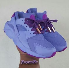 custom lilac and neon purple nike huaraches