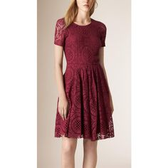 Burberry English Lace A-Line Dress (101.595 RUB) ❤ liked on Polyvore featuring dresses, lacy dress, lace dress, sheer sleeve lace dress, a line cocktail dress and lacy red dress