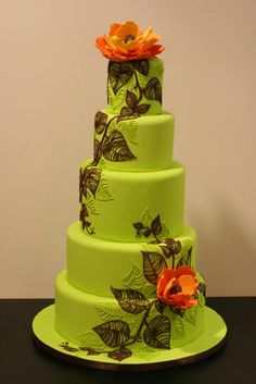 wedding cake, maybe not the green but the orange and leafs are nice