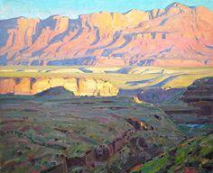 """End of Day Vermilion Cliffs,"" Robert Goldman, oil on canvas Abstract Landscape, Landscape Paintings, Western Landscape, Desert Art, Southwest Art, Sketch Painting, Artist At Work, Painting Inspiration, Robert Goldman"