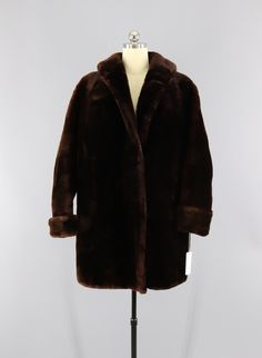 Vintage 1950s Mouton Fur Coat / Dark Brown Fur Sheared Lamb  #vintage #shopvintage