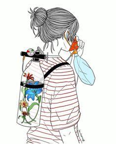 Fresh Air Mini Art Print by elesq Earth Drawings, Cool Art Drawings, Art Drawings Sketches, Hipster Drawings, Save Earth Drawing, Collage Kunst, Deep Art, Psy Art, Esquivel
