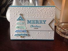 First Christmas card of 2014 using SSS falling snow stencil and PTI stamps and dies.