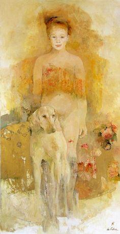 golden #yellow #art girl with dog by francoise de felice