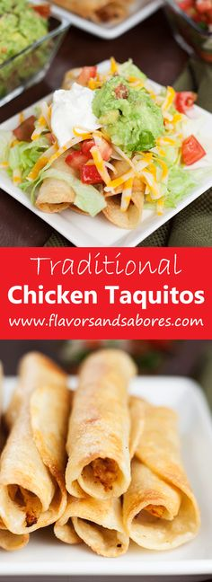 I used Flavor God Taco Tuesday seasoning with this seasoning and Salsa in place of the tomatoes! This easy recipe for Traditional Chicken Taquitos comes together in minutes and make anything but ordinary taquitos. Mexican Dishes, Mexican Food Recipes, Dinner Recipes, I Love Food, Good Food, Yummy Food, Delicious Recipes, Easy Recipes, Chicken Taquitos