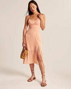 Women's Tie-Strap Ruched Midi Dress | Women's Dresses & Jumpsuits | Abercrombie.com Jumpsuit Dress, Summer Outfits, Summer Clothes, Personal Style, Tie, Women's Dresses, Jumpsuits, Stuff To Buy, Italy