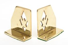 Pair of Heavy Polished Brass Art Deco Cubist Bookends image 3
