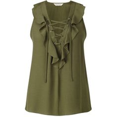 Miss Selfridge Khaki Ruffle Lace Up Shell ($18) ❤ liked on Polyvore featuring tops, shirts, khaki, sleeveless tank, green shirt, sleeveless shirts, green tank top and no sleeve shirt