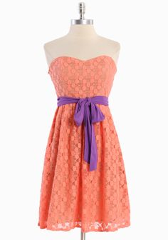 "Sorbet Dessert Tube Dress 52.99 at shopruche.com. Sweetly sophisticated, this coral pink dress is completed with a knit cotton-blend overlay, an optional purple sash, and tan lining. Structured with boning in the bodice and an exposed back zipper closure.  Shell: 65% Cotton, 35% Nylon, Contrast: 100% Rayon, Lining: 100% Cotton, Imported, 30.25"" length from top of bust"
