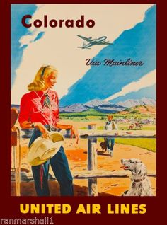 Colorado Mainliner United States Amerca Travel Advertisement Art Poster  in Art, Art from Dealers & Resellers, Posters | eBay