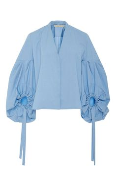 Sky Blue Leandro Blouse by HELLESSY for Preorder on Moda Operandi - ladies black shirts and blouses, womens button blouse, high neck blouse *ad Fashion Details, Fashion Design, Sleeve Designs, Blue Tops, Ideias Fashion, Ready To Wear, Fashion Dresses, Stylish, My Style